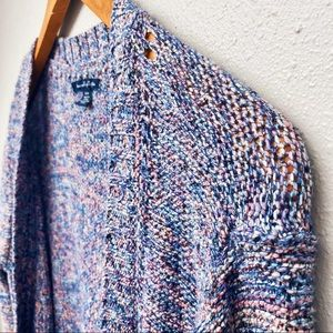 American Eagle Marled Blue Pink Button Cardigan